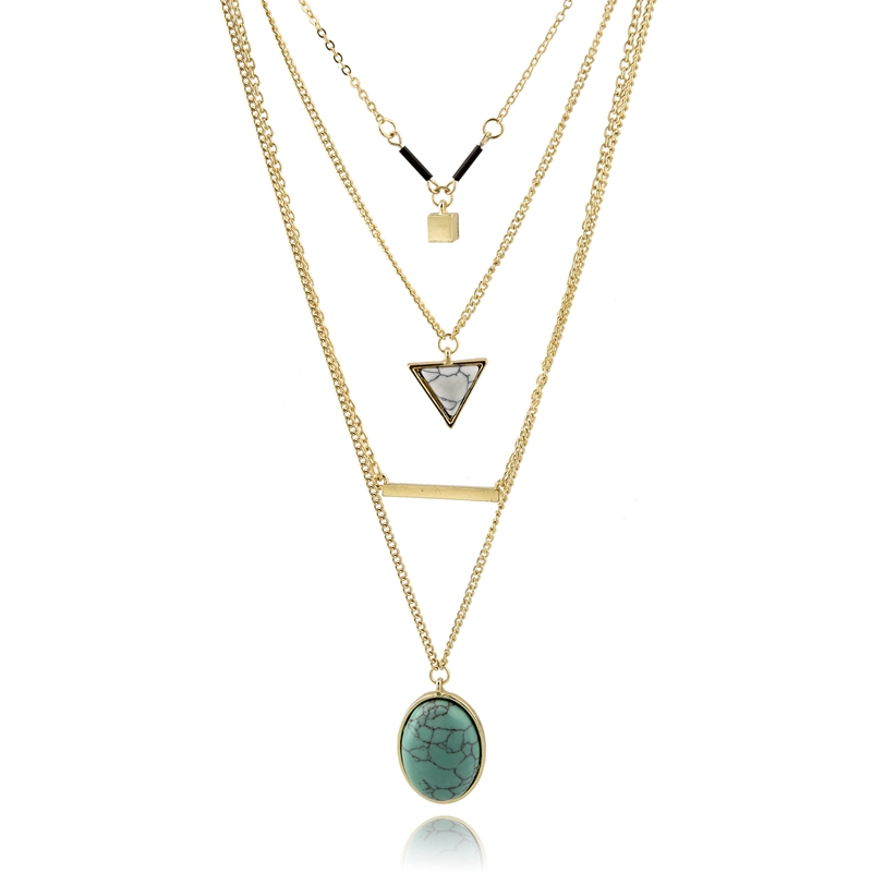 Green Triangle Layered Necklace